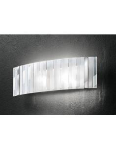 Applique grande in cromo lucido con vetro trasparente e satinato