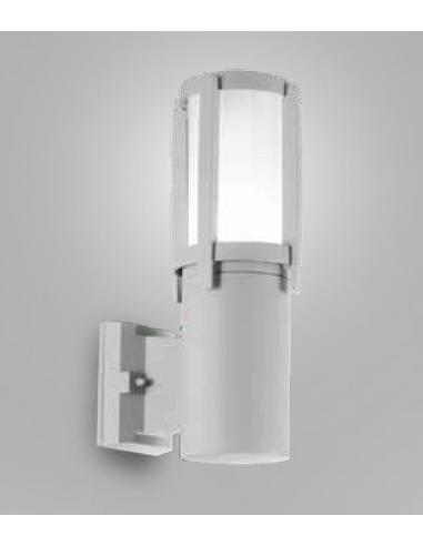 Applique alluminio per esterni colore grigio chiaro con diffusore in vetro