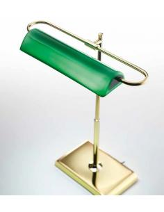 Table lamp in metal, polished brass with green glass LED