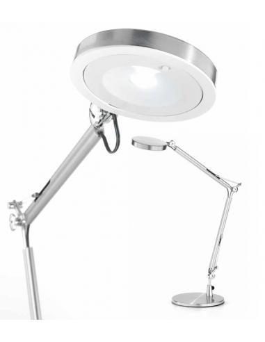 Lampada da tavolo orientabile in metallo cromo spazzolato