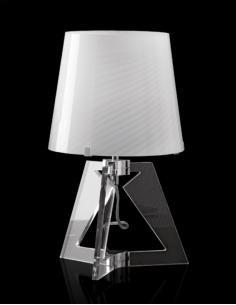 Lampada da tavolo in acrilico con vetro rigadin bianco