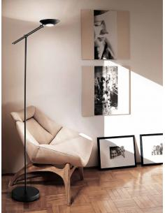 Floor lamp adjustable in metal colour black with frosted glass