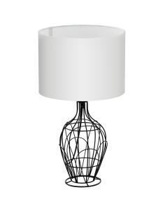 FAGONA - TABLE LAMP\STUDY Ø35,5CM 1X60W E27 stainless STEEL, BLACK\FABRIC, WHITE WITH BREAK