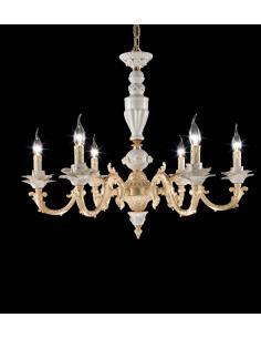 MARICA LAMP. 6L OTTONE + CERAMICA LIMOGES