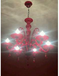 DUCALE Chandelier 6 light, Red