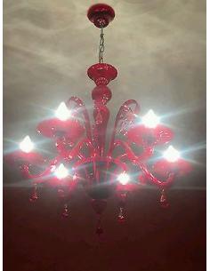 DUCALE Lampadario 6 luci, Rosso