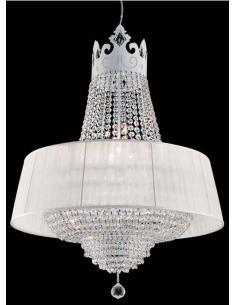 CROWN Lampadario cristallo, paralume bianco, bianco