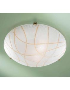 White ceiling light with rows of amber D50 special bronze