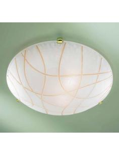 White ceiling light with rows of amber D50 special gold