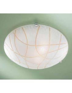 White ceiling light with rows of amber D40 special chrome
