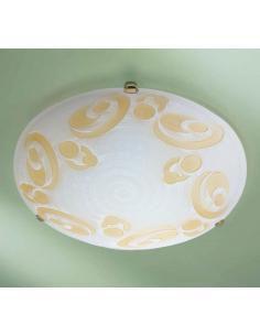 Plafoniera bianca con vortice ambra D40 particolari bronzo