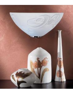 Applique a vaschetta con vortici bianchi particolari cromo