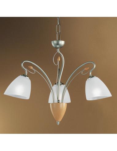 metal lux lampadari : Metal Lux - Perugino, lampadario in metallo e legno tornito, nickel ...