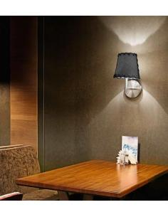 Applique brushed chrome with black fabric shade