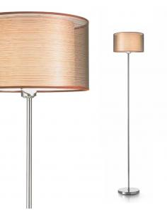 Floor lamp polished chrome with fabric shade