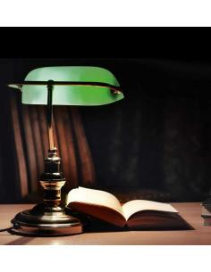 Table lamp polished brass with green glass