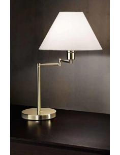 Lampada da tavolo snodabile ottone lucido con paralume in pvc