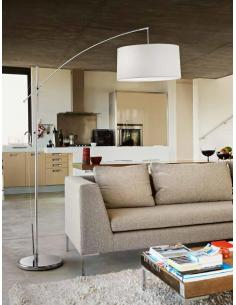 Floor lamp polished chrome adjustable with fabric shade