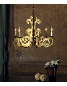 PARAPÀ chandelier 6 lights gold leaf