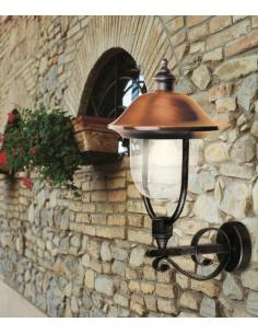 Lantern wall mount outdoor black/copper antique