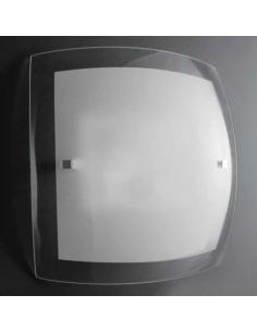 LORA 400/40x40 Lampada da Soffitto Vetro Bianco e Trasparente