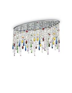 Ideal Lux 105239 Rain Color PL5 Ceiling Lamp Crystal