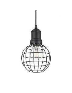 Ideal Lux 129235 Cage SP1 Round Suspension Lamp Black