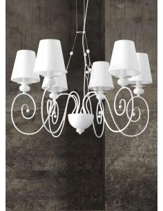 Contemporary AISHA/S Chandelier with White Shades in Fabric