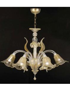 LORA Murano 3074/5 C.O. Polaris Lampadario 5 Luci Cristallo Oro
