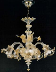 LORA Murano 3069/5 C. O. Vega Chandelier 5 Lights Crystal Gold
