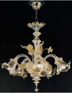 LORA Murano 3069/5 C.O. Vega Lampadario 5 Luci Cristallo Oro
