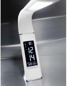 Perenz 6536 B Lampada da Tavolo flex LED pelle bianca e display