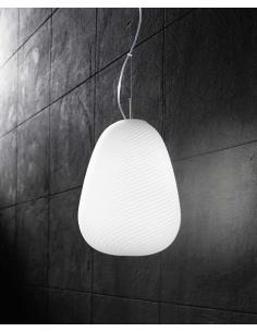 Perenz 6462 pendant Lamp, Chrome with White Glass