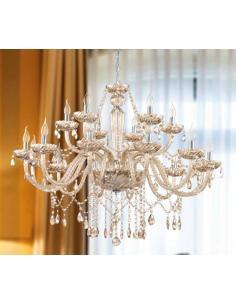 Eglo 39095 Basilano Chandelier Suspension 18 Lights Cognac