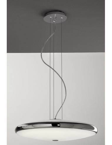 SUSPENSION POLISHED CHROME C/VETRI SATINATI 2XT5 32W+55W INCL.