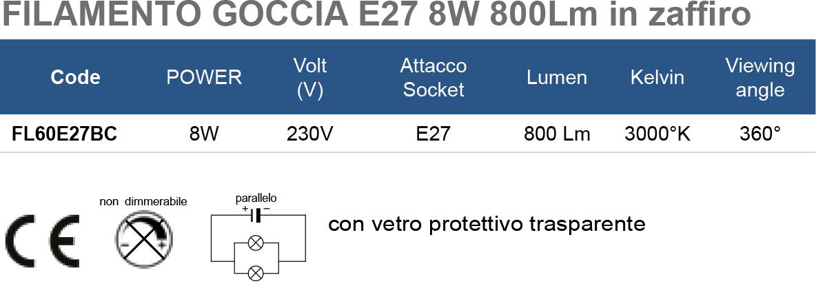 FILAMENTO GOCCIA E27 8W 800Lm in zaffiro