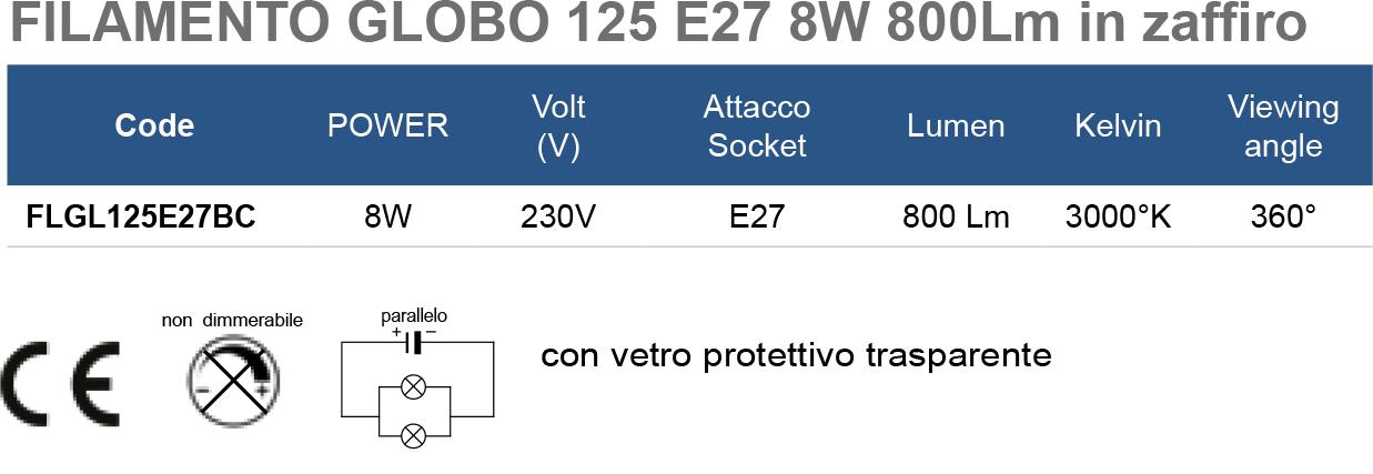 FILAMENTO GLOBO 125 E27 8W 800Lm in zaffiro