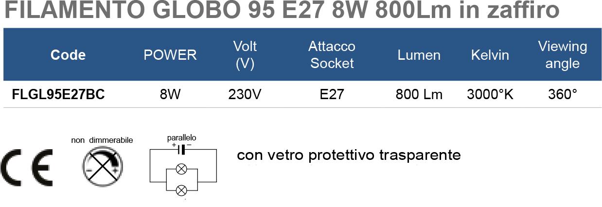 FILAMENTO GLOBO 95 E27 8W 800Lm in zaffiro