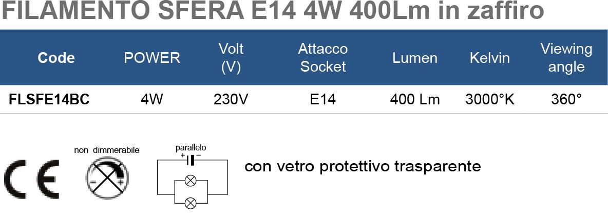 FILAMENTO SFERA E14 4W 400Lm in zaffiro