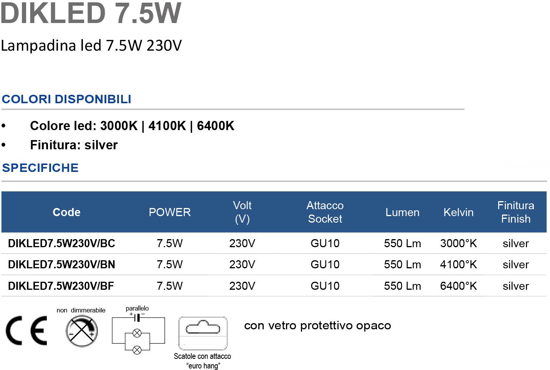 Lampadina led 7.5W 230V