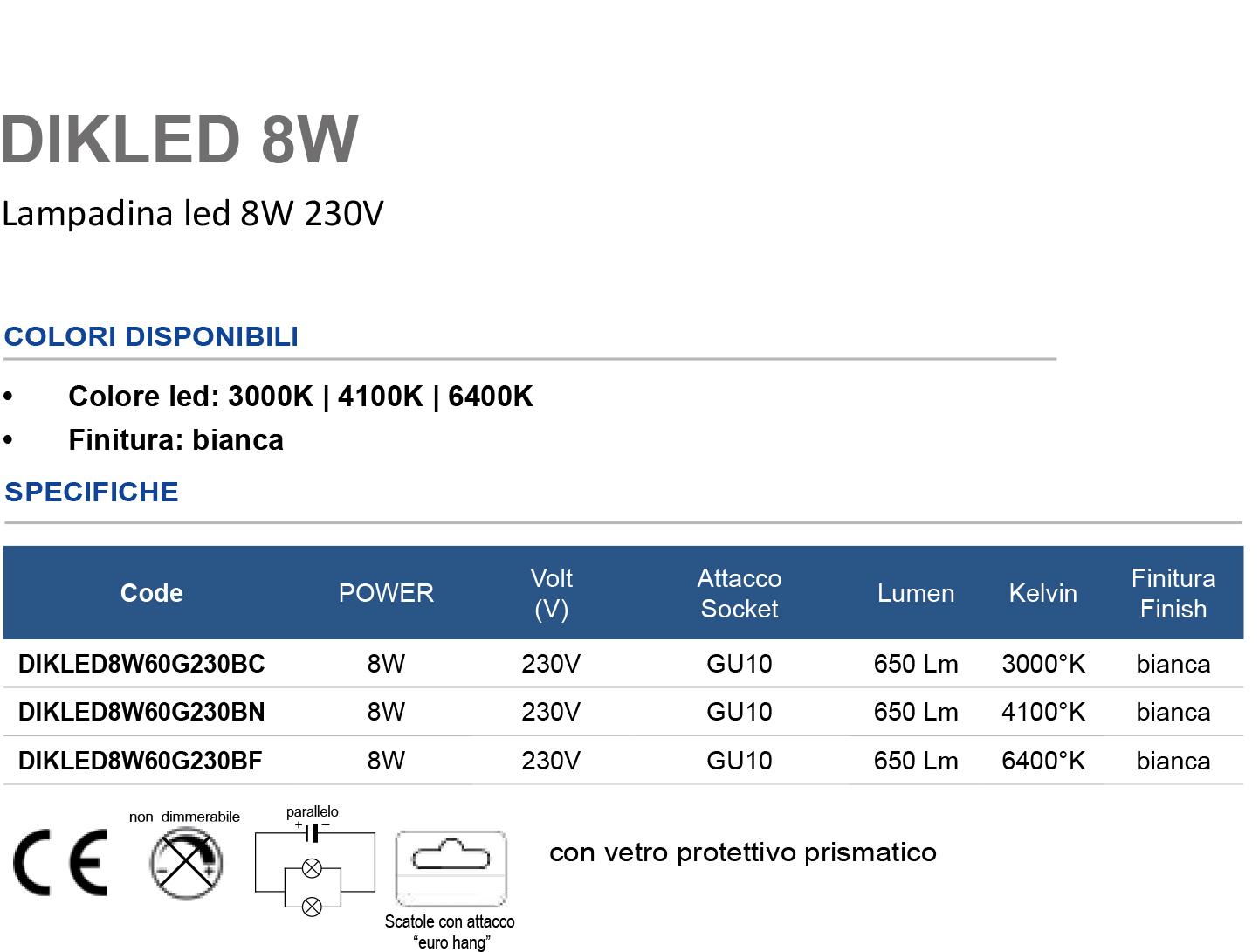 Lampadina led 8W 230V