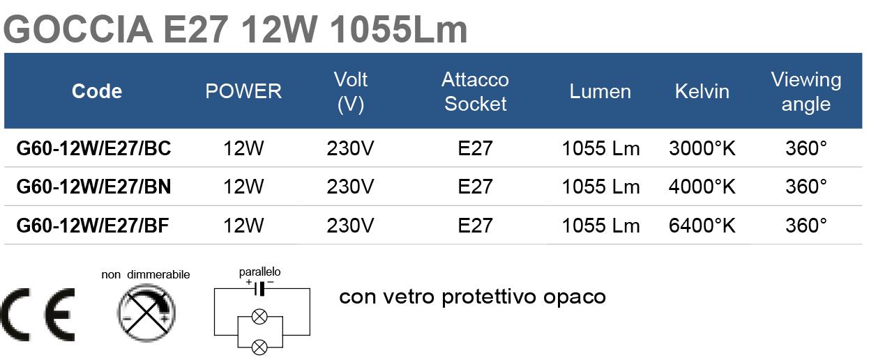 GOCCIA E27 12W 1055Lm