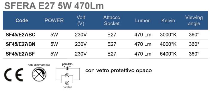 SFERA E27 5W 470Lm