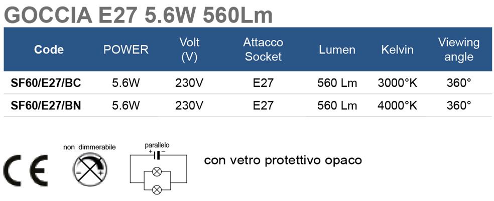 GOCCIA E27 5.6W 560Lm